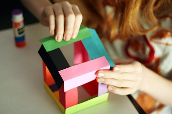 3-D paper cube craft