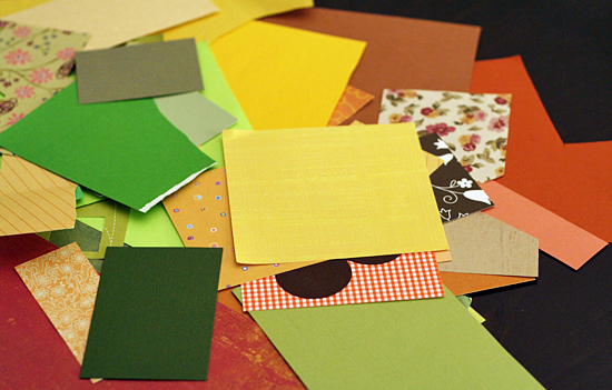 Fall colors paper scraps