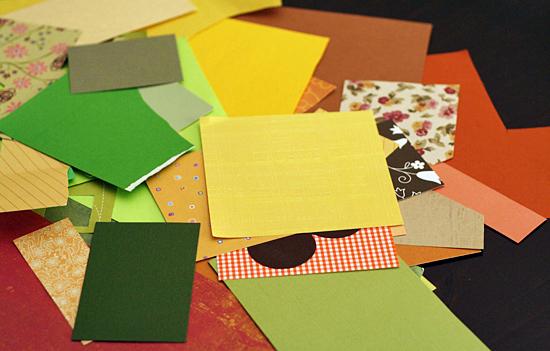 Fall colors paper scraps