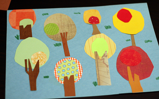 Whimsical paper trees for fall