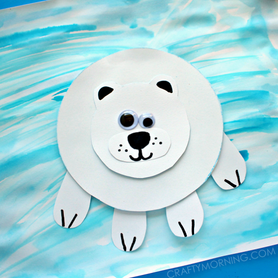 Paper Polar Bear on Ice