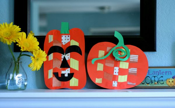 Paper weaving pumpkins and jack o'lanterns
