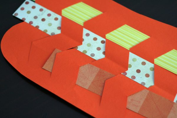 Paper weaving pumpkins with patterned paper