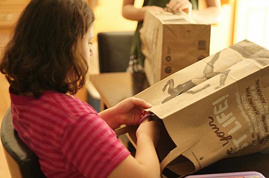 Cutting a paper bag