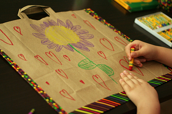 Kid-made paper bag portfolio