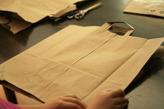 Paper bag portfolio for kids