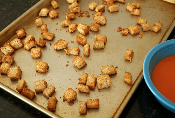 Baked whole wheat parmesan croutons
