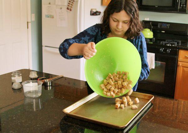 Kid-friendly Parmesan crouton recipe