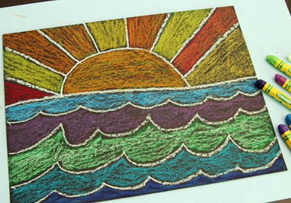 Beautiful oil pastel sun and water art project