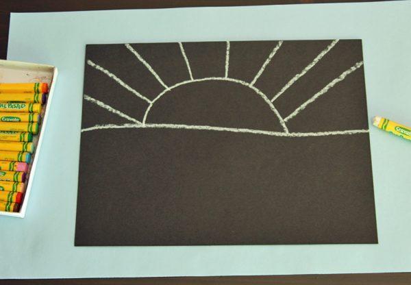 Oil pastel sun drawing