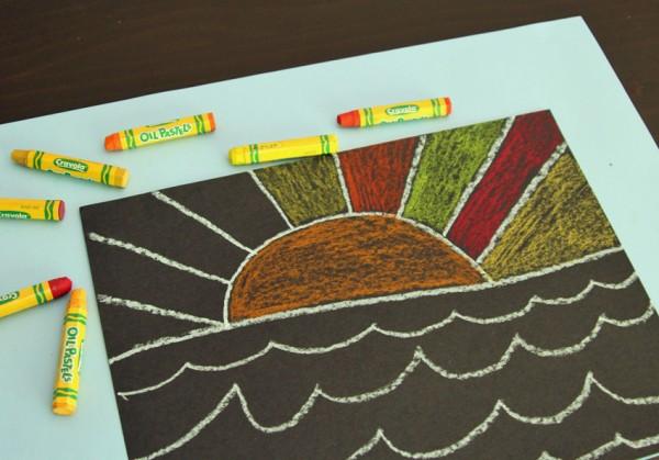 Warm color pastels for sun