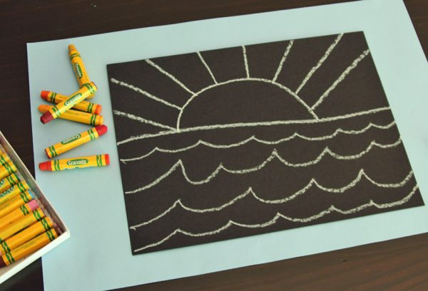 Oil pastel sun and water drawing