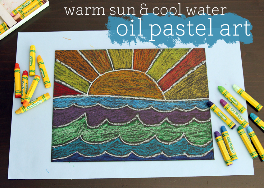 oil pastel art  warm sun and cool water