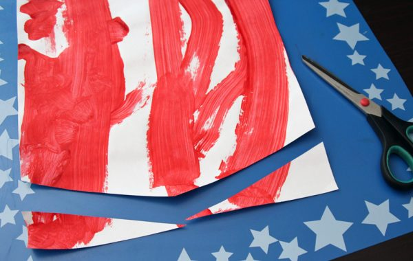 Making a painted patriotic banner