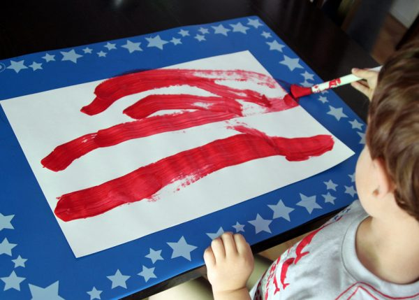 American flag painting for preschoolers