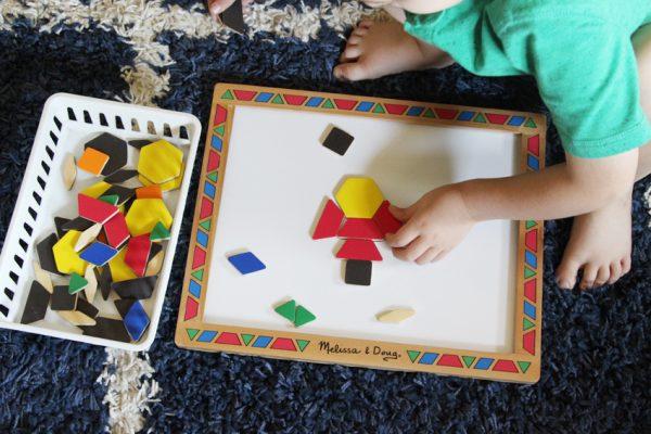 Pattern block shape play for kids