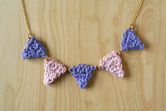 DIY Crochet Bunting Necklace by caughtonawhim.com for @makeandtakes.com #crochetaday