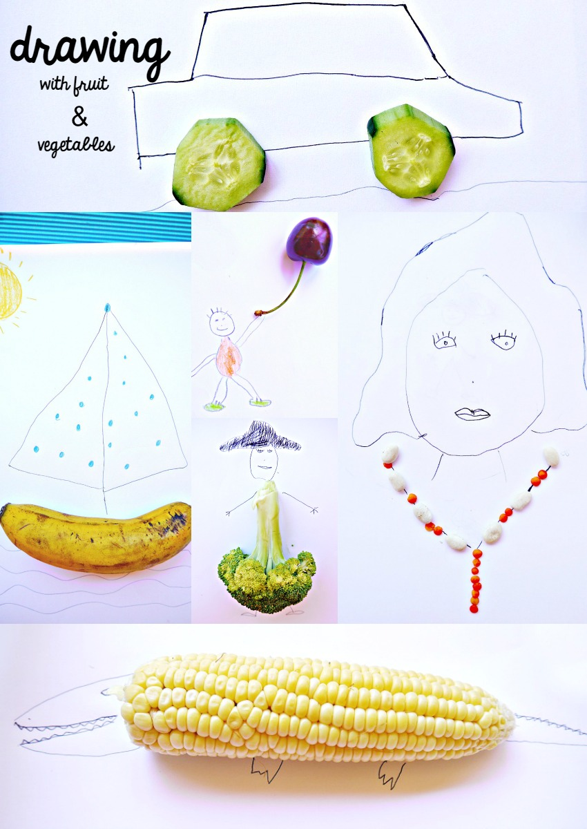 Drawing Activity With Fruits And Vegetables