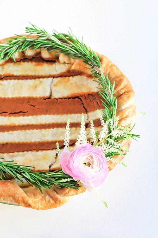 Striped Floral Pie Crust