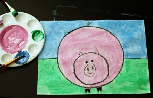 Pig painting art project for kids