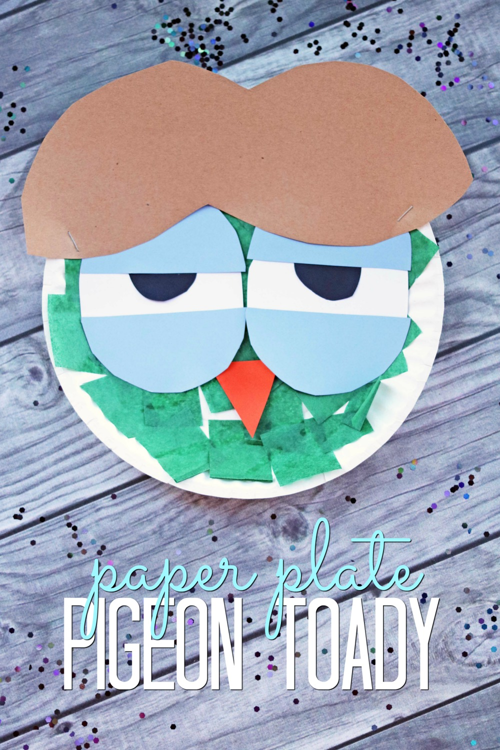 Paper plate pigeon toady kid craft make and takes for Make it take it crafts