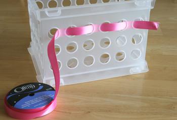 Weaving Ribbon Into Basket