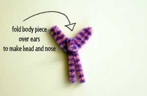 Pipe cleaner bunny head and nose