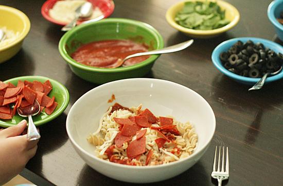 Pizza pasta bowls family dinner