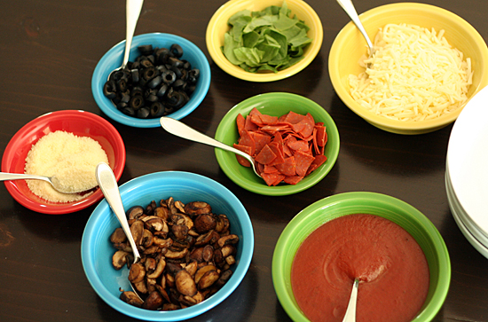 Pizza pasta bowl ingredients