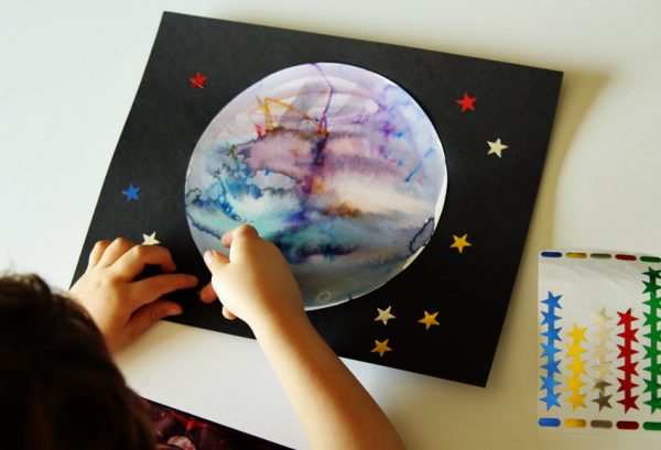 Star stickers and planet art project