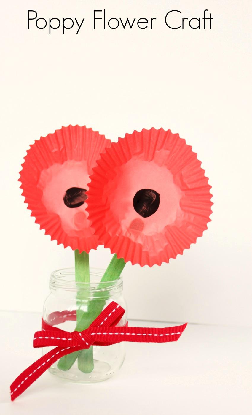 Poppy flower craft make and takes for Veterans day poppy craft
