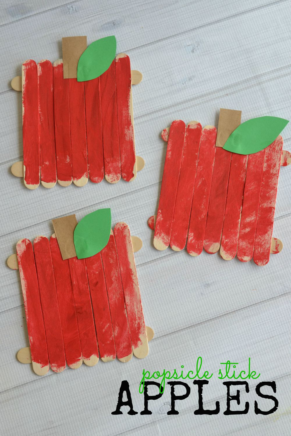 Popsicle stick apples kid craft make and takes for How to make popsicle stick crafts