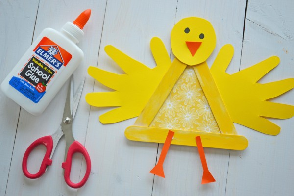 Crafty popsicle stick baby chick for spring make and takes for Wealth out of waste ideas for adults