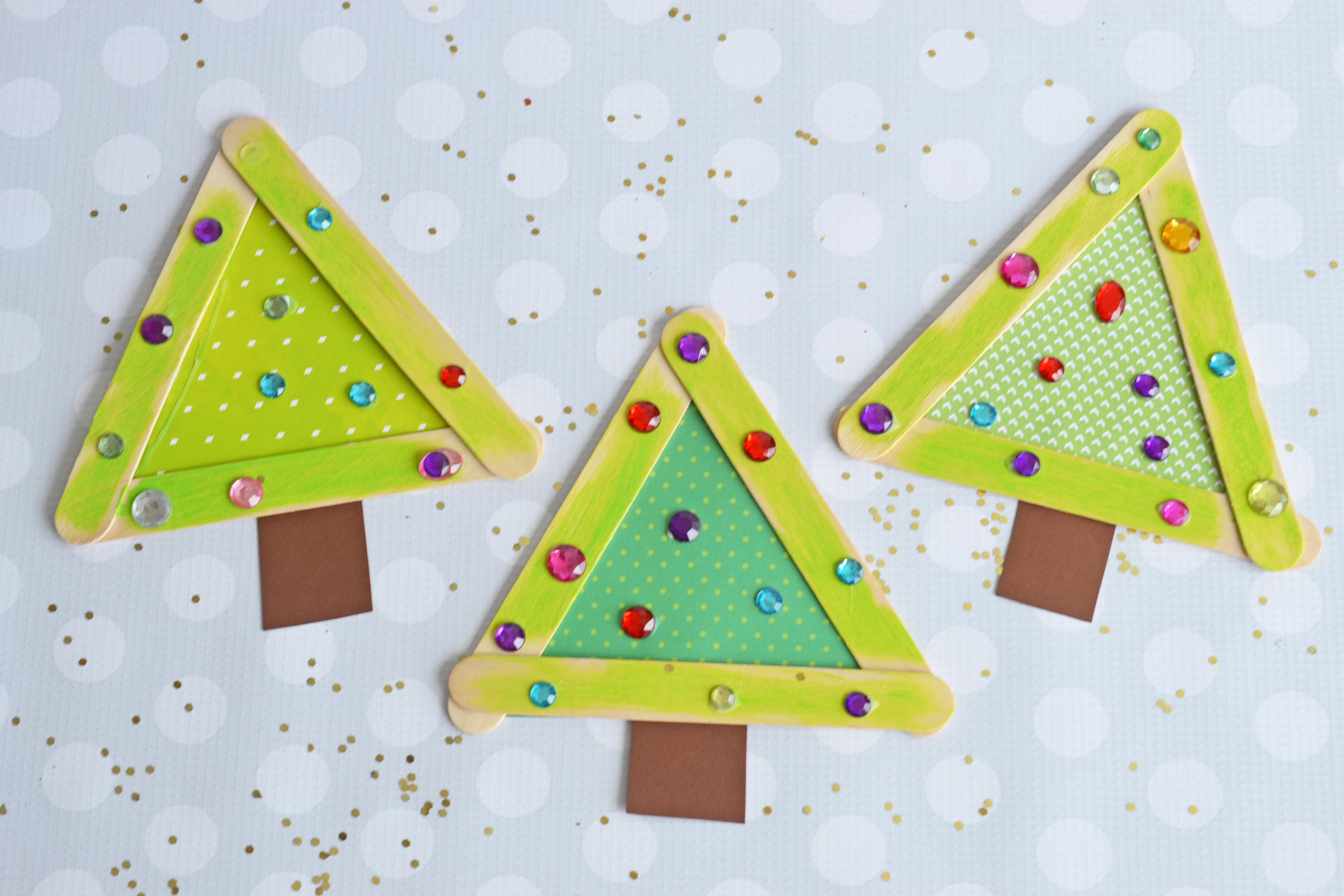 Popsicle stick christmas trees make and takes for Popsicle stick picture frame christmas