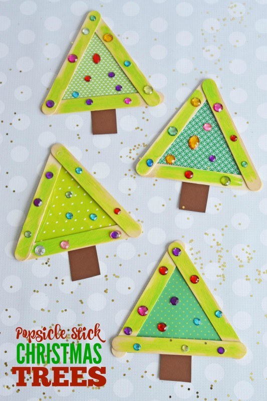 Popsicle stick christmas trees make and takes for Christmas projects with popsicle sticks