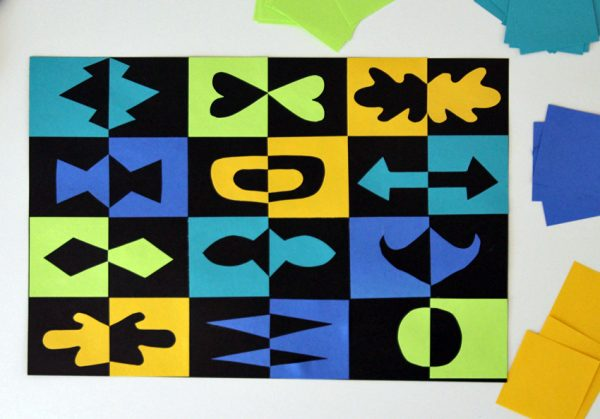 Positive and negative space paper grid art project for kids
