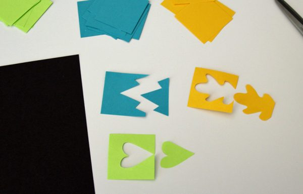 Cutting paper into positive and negative shapes