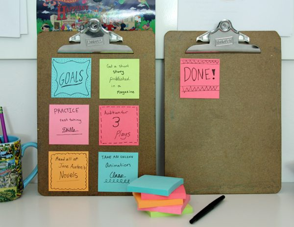 Student goal board with Post-it Notes