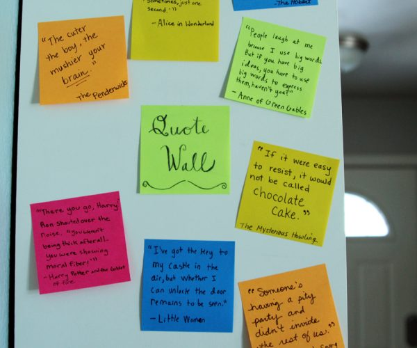 Literature quote wall with Post-it Notes