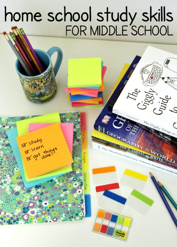 Home School Study Skills for Middle School featuring Post-it Brand products