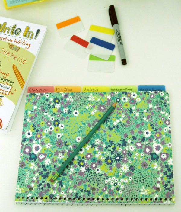 Writer's idea book with spiral notebook and Post-it Tabs