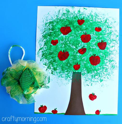 pouf-sponge-apple-tree-craft-for-kids