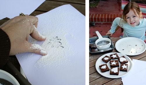 Stenciled Brownies Sugar Spreading