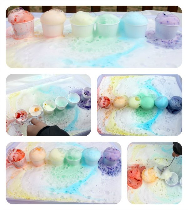 rainbow baking soda and vinegar science for kids