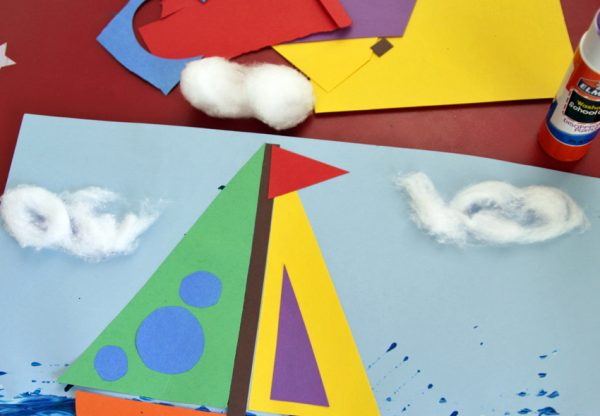 Rainbow sailboat art project for kids
