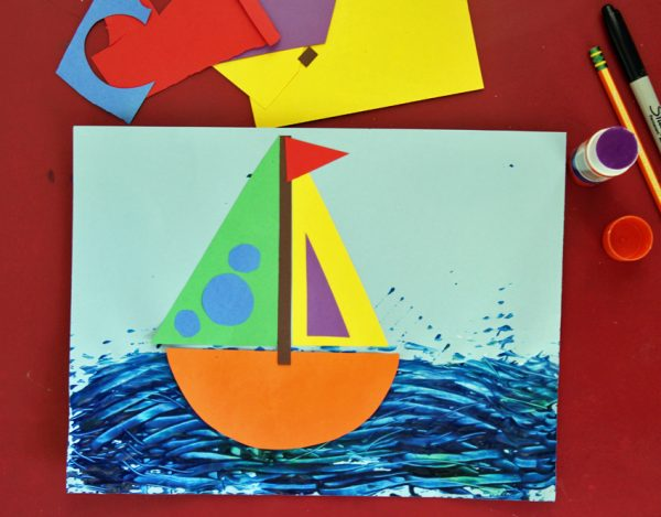 Rainbow sailboat collage art for kids