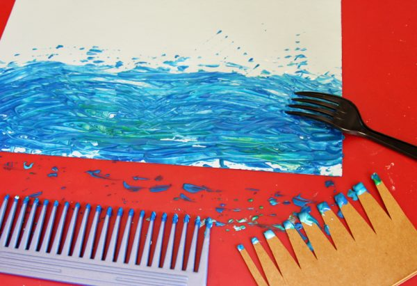 Ocean painting with combs
