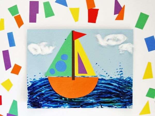 Rainbow Sailboat Collage Art Project for Kids