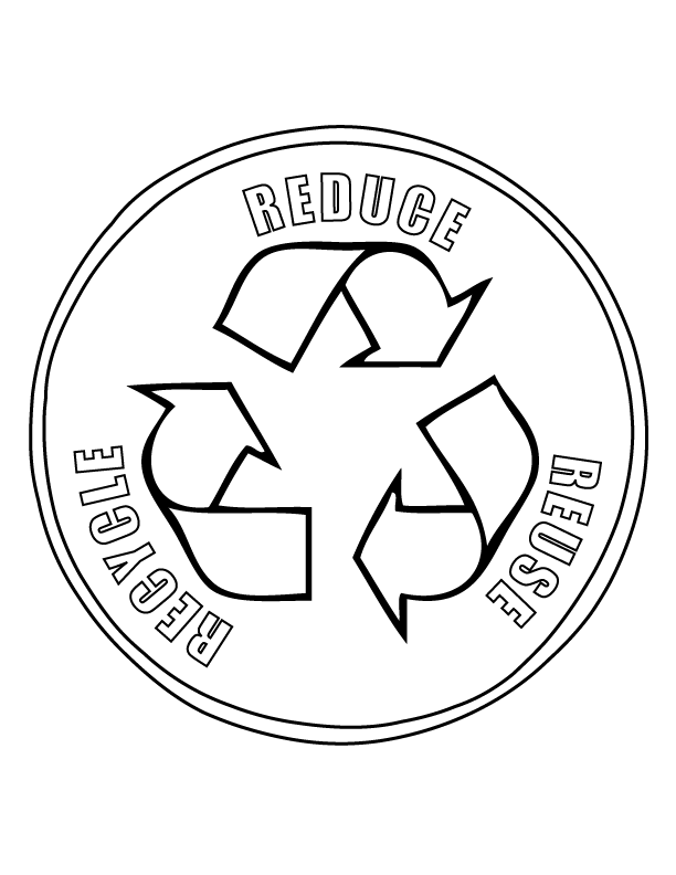 Earth Day Reduce Reuse Recycle Coloring Page