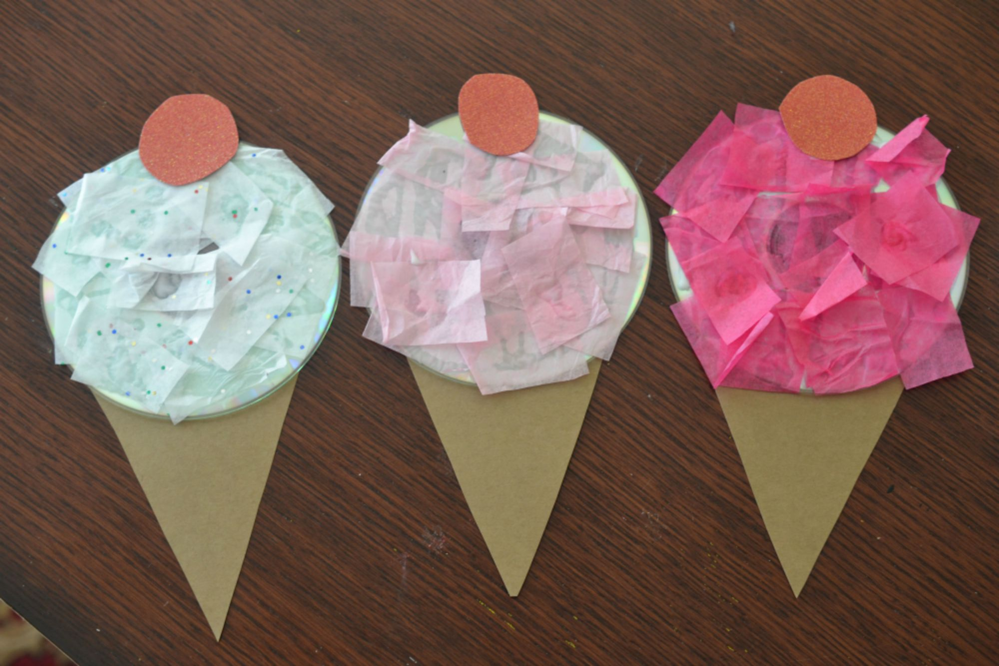 Recycled cd ice cream kid craft make and takes for Kid arts and crafts